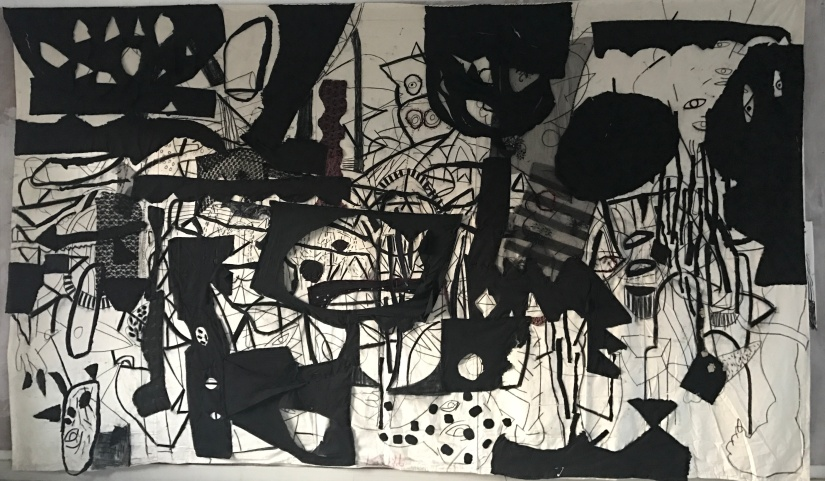 The Black Territory 96x194 inches mix media 2017
